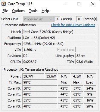 برنامج Core Temp لقياس درجة حراره المعالج