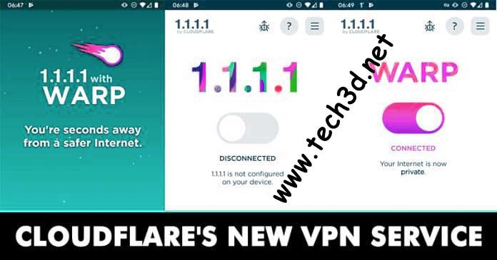 افضل فى بى ان VPN للموبايل لحل مشاكل بطئ الانترنت كلاود فلير Cloud Flare 2